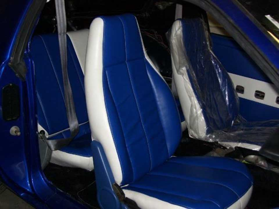 blue and white colour car upholstery