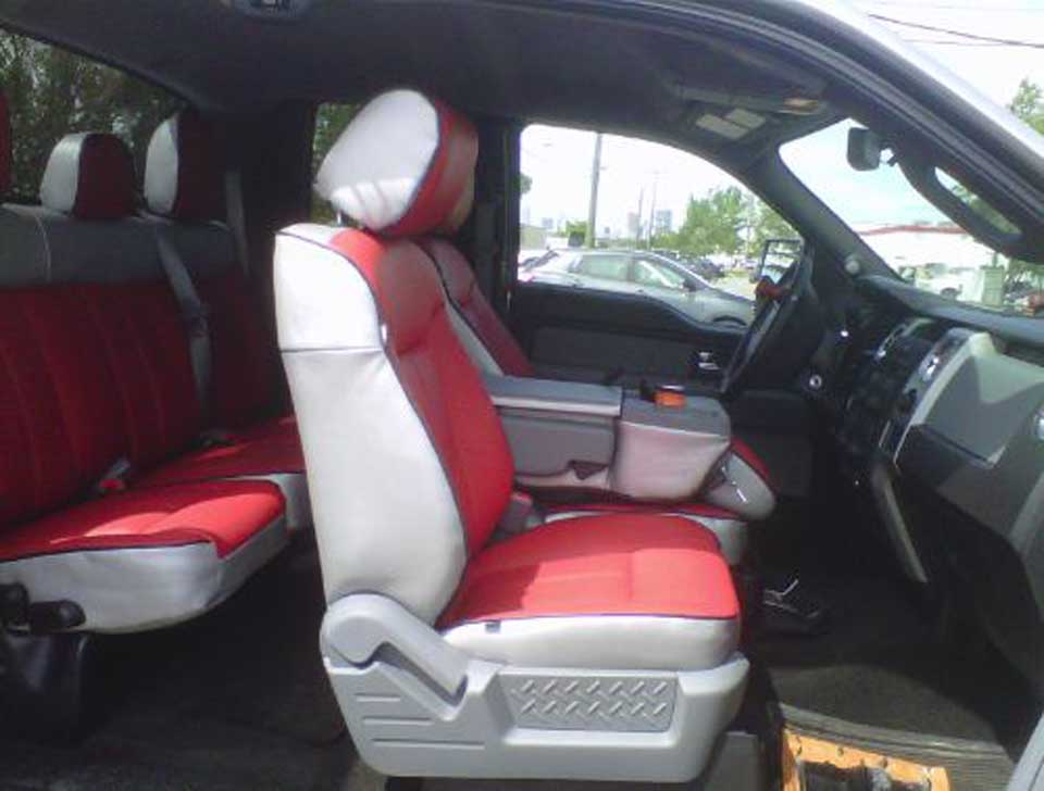 red and silver upholstery