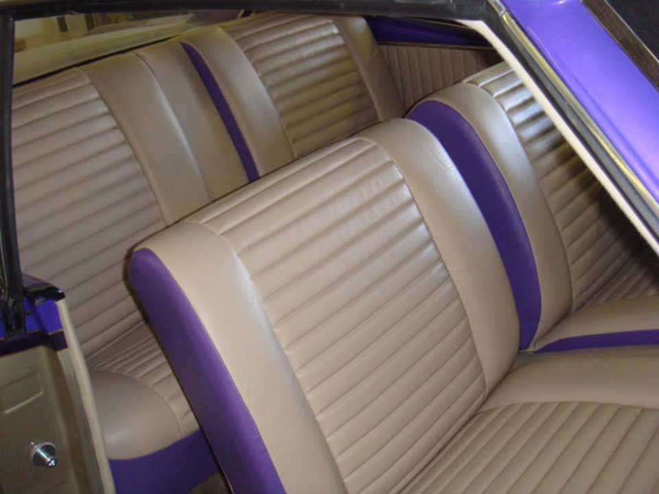 beige and purple upholstery