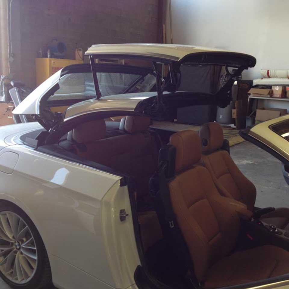 View of BMW convertible upholstery