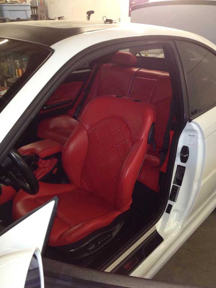 red colour car upholstery