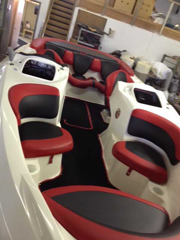 top view of boat upholstery