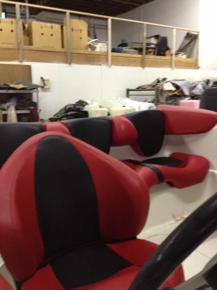 red and black colour boat upholstery